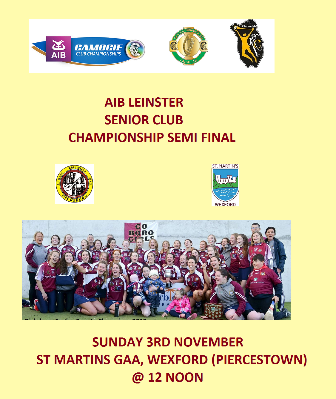Dicksboro promotion for Leinster Senior Club Semi Final 031119